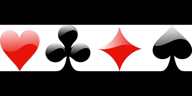 Logo des différentes couleurs d'un jeu de carte : Coeur, Trèfle, Carreau et Pique