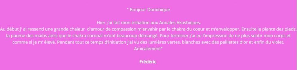 Témoignage de Frédéric sur la formation de Dominique sur les annales akashiques