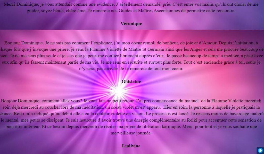 Témoignages de trois personnes ayant suivi la formation sur la flamme violette : Véronique, Ghislaine et Ludivine